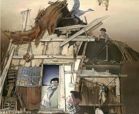 加藤貞子《人形衆Ⅵ》 1979年 油彩 181.8×227.3cm 秋田県立近代美術館蔵